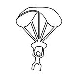 Parachutist silhouette flying icon Royalty Free Stock Image