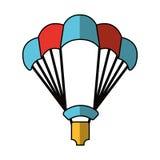 Parachutist silhouette flying icon Royalty Free Stock Photo