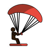 Parachutist silhouette flying icon Stock Images