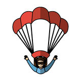 Parachutist silhouette flying icon Royalty Free Stock Images