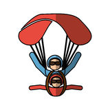 Parachutist silhouette flying icon Stock Photography