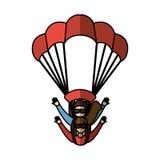Parachutist silhouette flying icon Stock Photo
