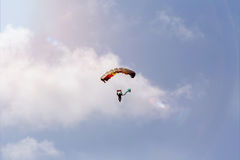 Parachutist in a summer sky Royalty Free Stock Photography