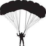Parachutist sylwetki wektor Obraz Stock