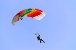 Parachutist turning right. Parachutist pulling right handle and turning right Royalty Free Stock Image