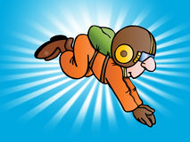 Parachutist wear green parachute Stock Images