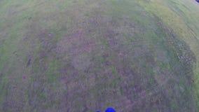Parachutiste professionnel sur l'atterrissage de parachute sur le champ vert ground Sport extrême banque de vidéos