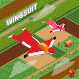 Parachutistes en Wing Suit Isometric Illustration Photos stock