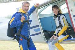 Parachutists портрета мужские и женские Стоковое Изображение RF