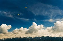 Parachutists in Alps Royalty Free Stock Image