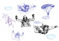 Parachutists collections Stock Photo
