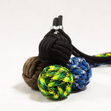 Paracord balls 02. Four paracord balls stacked in different colors Stock Images
