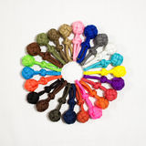 Paracord balls 01. Ring of paracord balls color view Royalty Free Stock Photo