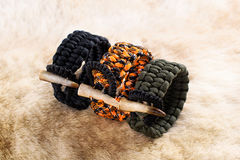 Paracord Bracelet With antler. Deer Elk skin Stock Images