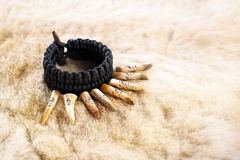 Paracord Bracelet With antler. Deer Elk skin Royalty Free Stock Photography