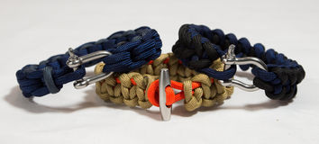 Paracord bracelet 01. Bracelets made out of paracord Royalty Free Stock Photo