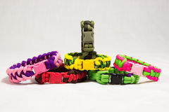 Paracord bracelet 12. Several paracord bracelets view from front composed Royalty Free Stock Photo