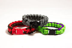 Paracord bracelet 08. Three different paracord bracelets stacked Stock Photography