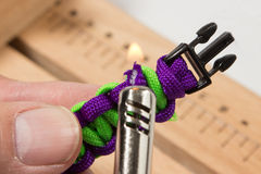 Paracord manual. Serries on how to know a basic paracord bracelet Royalty Free Stock Photos