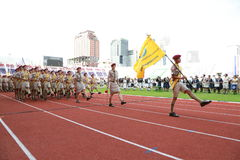 Parada anual do dia nacional dos escuteiros Fotografia de Stock Royalty Free