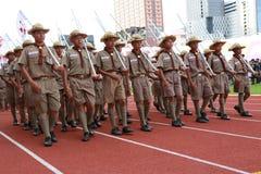 Parada anual do dia nacional dos escuteiros tailandeses Imagem de Stock