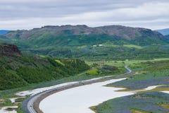 Parada ao longo de Ring Road, Islândia do resto Fotografia de Stock