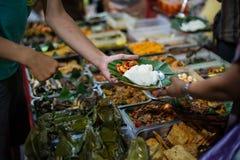 Parada 4, bloque M, Jakarta de la comida de la calle Imagenes de archivo