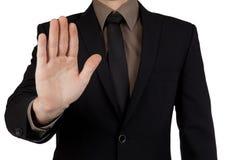 Parada da exibição do homem de negócios ou gesto da estada isolado no backg branco imagem de stock