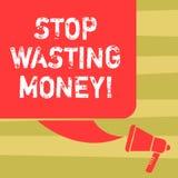 Parada da exibição do sinal do texto que desperdiça o dinheiro A foto conceptual para evitar a dissipação desperdiça cor inútil o ilustração do vetor