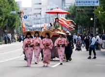Parada da rua durante o festival de Nobunaga em Gifu, Japão Foto de Stock Royalty Free
