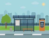 Parada de autobús con el fondo de la ciudad ilustración del vector
