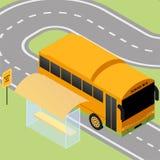 Parada de autobús escolar isométrica Stock de ilustración