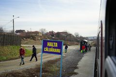 Parada de Caldararu en los carriles de Oltenita Foto de archivo libre de regalías