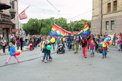 Parada de Europride em famílias de Oslo fotos de stock
