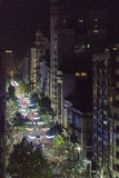 Parada de Inagural da vista aérea do carnaval em Montevideo Uruguai Fotografia de Stock Royalty Free