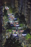 Parada de Inagural da vista aérea do carnaval em Montevideo Uruguai Foto de Stock Royalty Free
