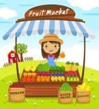 Parada de la tienda de la fruta ilustración del vector