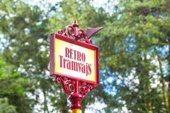 Parada de la tranvía retra Letonia, Riga Foto de archivo libre de regalías