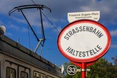 Parada de la tranv?a en Viena fotos de archivo