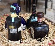 A parada de Tequilla, tequila famoso marca tudo junto foto de stock royalty free