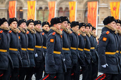 A parada dedicou ao 7 de novembro de 1941 no quadrado vermelho em Moscou 75th aniversário Imagem de Stock Royalty Free