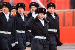 A parada dedicou ao 7 de novembro de 1941 no quadrado vermelho em Moscou 75th aniversário Foto de Stock