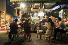 Parada del alimento cocido en la central, Hong Kong Foto de archivo