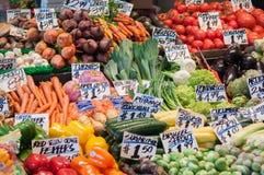 Parada del mercado de la fruta y verdura Fotos de archivo