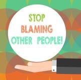 Parada del texto de la escritura de la palabra que culpa a otras personas El concepto del negocio para no hace que las excusas as ilustración del vector