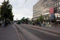 Parada do bonde em Helsínquia Foto de Stock