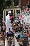 Parada do canal do orgulho alegre de Amsterdão Fotos de Stock Royalty Free