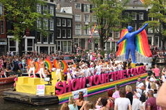 Parada do canal do orgulho alegre de Amsterdão Fotos de Stock