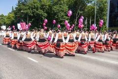 Parada do festival nacional estônio da música em Tallinn, Estônia Imagens de Stock