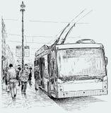 Parada do ônibus bonde Imagem de Stock Royalty Free